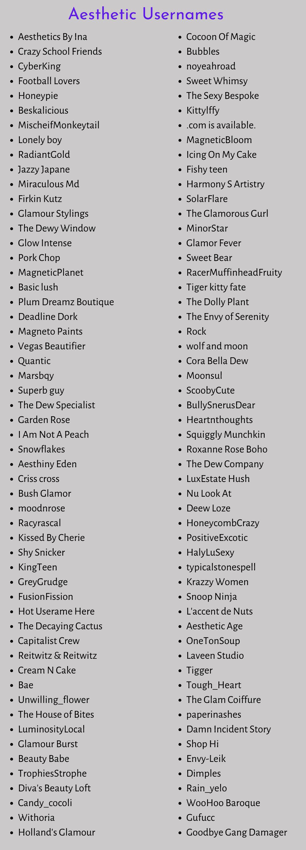 Aesthetic Usernames 20+ Dark & Soft Aesthetic Usernames